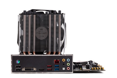 PC mainboard with CPU cooler on white