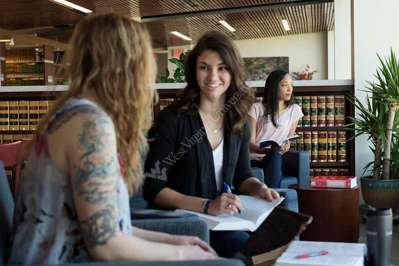 WVU law students  study space in front in the George R Farmer Jr Law Library April 18,