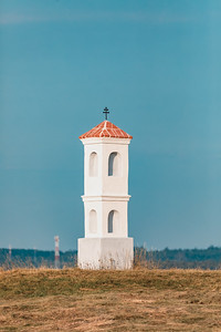 Small chapel on the hill in National Nature Reserve Mohelen Steppe, Czech Republic