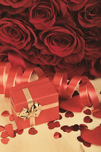Valentine gift and red roses, retro color tone