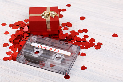 Audio cassette tape and small hearts