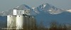 """Another view of the """"sugar factory"""", in winter, with Longs Peak in the background."""