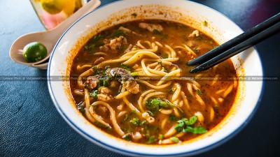 A Bowl Of Spicy Seafood Laksa Noodles Soup