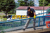 WV University Police Department Captain Danny Camden volunteers to help cleanup in Mannington, Wv after recent flooding August, 2nd 2017.  Photo Brian Persinger