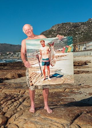In December 1968, Geoff Fridgeon posed for a picture holding a white musselcracker he had speared off Dalebrook beach. A fish this size would have been close to thirty years old. Forty-six years later he stands in the same spot posing with an enlargement of the picture. Today, reef fishes of this size and age have all but disappeared from the bay, and the white musselcracker is near threatened with extinction.