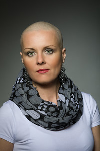 beautiful middle age woman cancer patient without hair