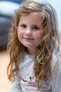 little Caucasian girl child with disheveled hair