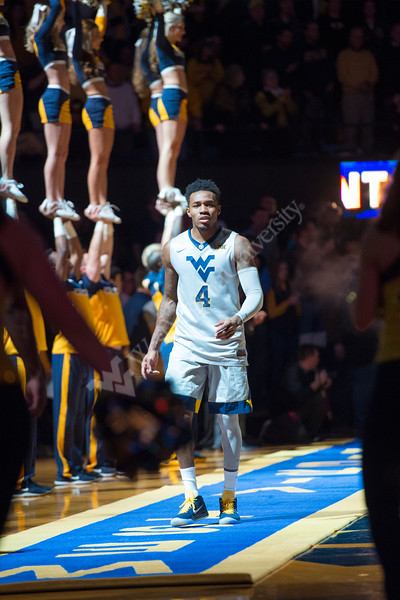Daxter Miles Jr. being introduced to a sold out crowd at the Coliseum before a game against Oklahoma on January 6, 2018.