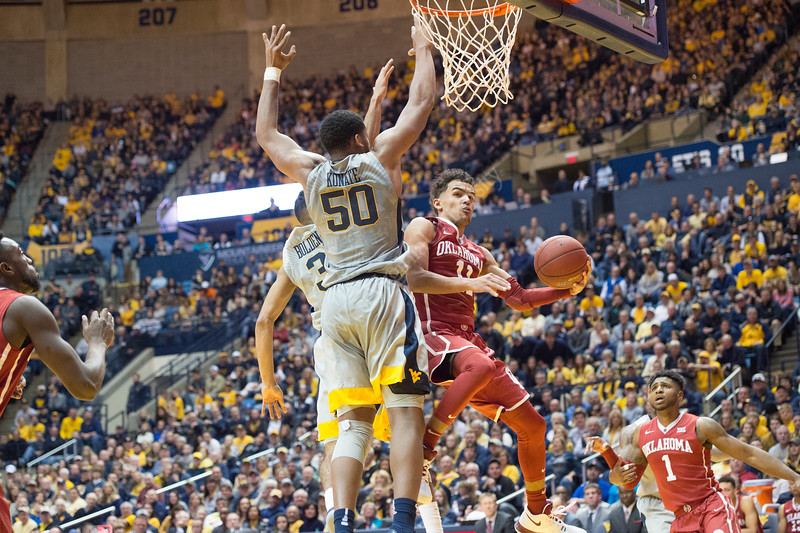 Men's Basketball faces off against number 7 ranked Oklahoma in the Coliseum on January 6, 2018. The Mountaineers beat the Sooners 89-76 in an intense game.