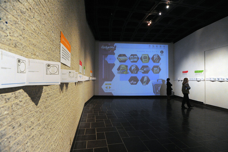 25780 - ORIGINAL: Dec. 2008 - Projects of graduating MFA students Kelly Barkhurst and Emily Frye on exhibit in Mesaros Galleries. They built interactive health programs that encourage exercise and educate users about diseases like asthma and diabetes.