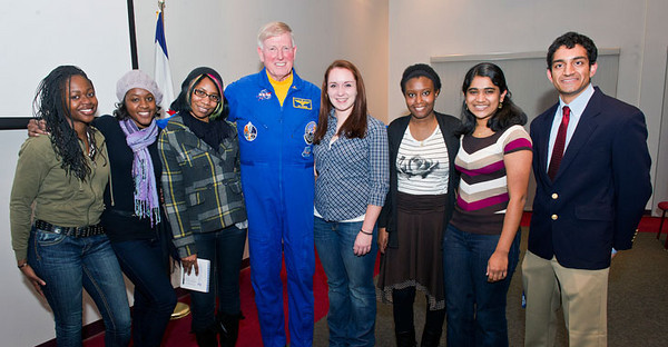 BUCKET: Feb. 1, 2011 - Retired astronaut and WVU alumnus Captain Jon McBride met WVU's McNair Scholars during his visit to observe the 25th anniversary of the Challenger space shuttle tragedy. Launched by Congress shortly after the accident, the McNair Scholars program is named for Ronald E. McNair, who died on the Challenger.