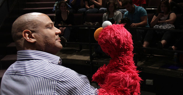 BUCKET - May 31, 2011 - Kevin Clash, the man behind Elmo, visits WVU to talk to puppetry students about teaching by entertaining and connecting with audiences young and old. The College of Creative Arts has one of only three puppet design programs in the country.