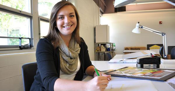 BUCKET - Oct. 18, 2011 - Maria Belcher, WVU interior design student who created the WVU tartan