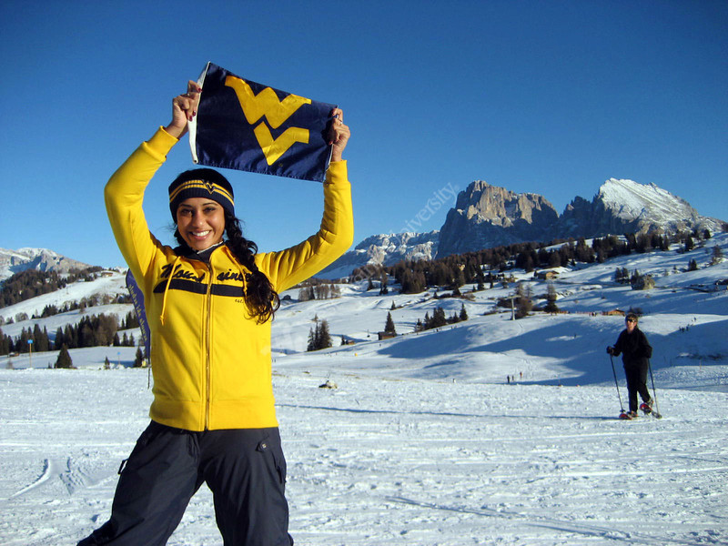 ORIGINAL - 2008 graduate Nesha Sanghavi in the Italian alps. Photo submitted to WVU Alumni Association. Bucket posted Feb. 29, 2012.