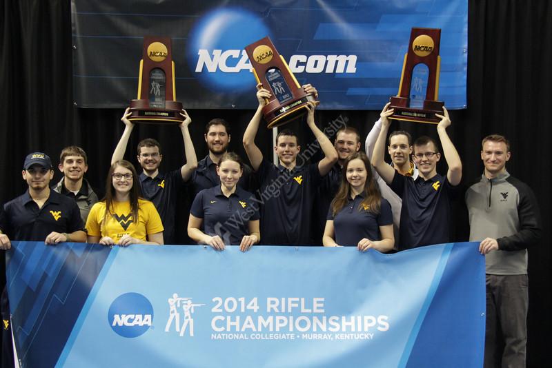 Rifle team with 2014 NCAA trophies. Photo courtesy of Shannon McNamara, Athletics