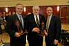 ORIGINAL: March 15, 2011 - President Jim Clements presents Steve and George Farmer, members of the Hazel Ruby McQuain Charitable Trust, with Mountaineer statues in honor of the Trust's $4.6 million gift for graduate fellowships. The gift will be matched by the state's Research Trust Fund to create a nearly $10 million endowment.