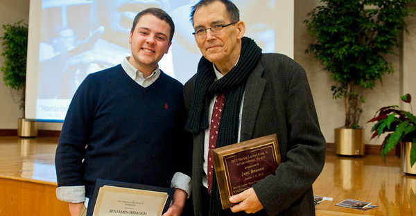 BUCKET - Benjamin Seebaugh and Joel Beeson at MLK Unity Breakfast, posted Jan. 17, 2012, original = 28075s0096