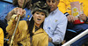 BUCKET - 2009-2010 Mountaineer mascot Rebecca Durst at cheer-off during Mountaineer selection process.