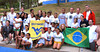 BUCKET - WVU students from the College of Physical Activity and Sports Sciences with the gymnasts from Children's Hope, a program developed by PUC Minas University that brings youth from the Favelas (slums) to the university to participate in basketball, track and field, and gymnastics.  Photo courtesy of CPASS