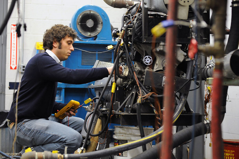 26504A0002 - Dec. 2009 - Italian researcher Dr. Vincenzo Mulone selected WVU as the place to spend his time as a Fulbright Fellow. At WVU, he worked with Dr. Mridul Gautam, a world renowned authority in analysis of engine emissions.