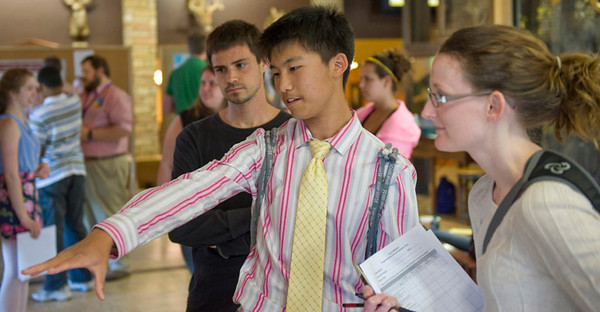 Bucket: EnvironMentors Fair 2012, photo by Lindsay Willey, Davis College - From left: wildlife and fisheries resources graduate student Michael Vozniak, Morgantown High sophomore Daniel Pan, and civil and environmental engineering faculty member Leslie Hopkinson