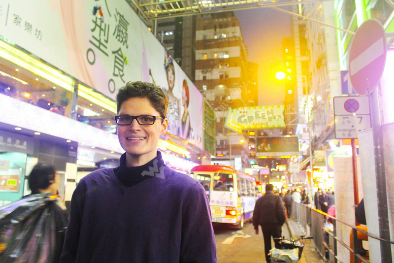 Chris Hickey studying abroad in Hong Kong. Submitted by Chris Hickey for WVU home page, March 2014.