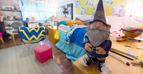 BUCKET - WVU Gnome in residence hall, original = 28043s0348xx