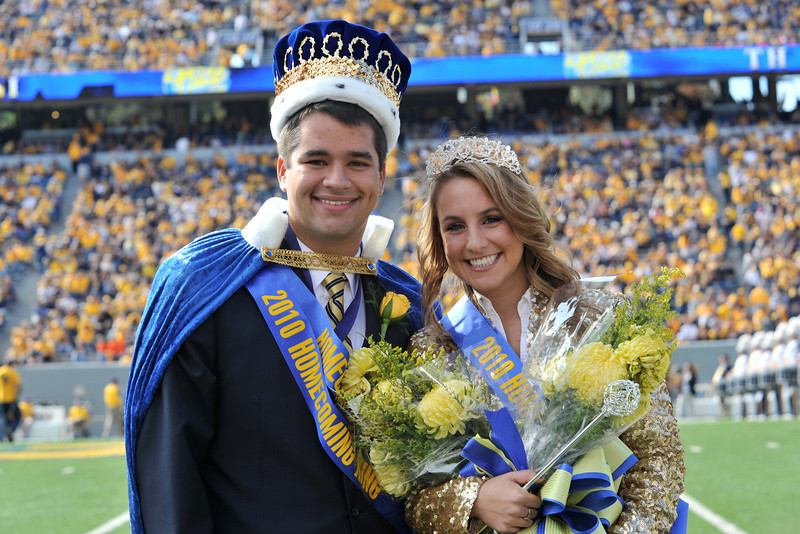 ORIGINAL: Omar Wazir, a biology and history major from Charleston, and Tracy Speilman, a nursing major from Beckley, were crowned 2010 Homecoming king and queen. WVU's annual Homecoming weekend included a parade, reunions, and many other college and alumni events.