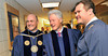 "BUCKET: May 18, 2010 — Former President Bill Clinton greets WVU President James Clements and political science senior Jason Parsons, who invited Clinton to speak at the Eberly College Commencement. Clinton encouraged graduates to volunteer in their communities, reminding them that ""we are in this future together."""