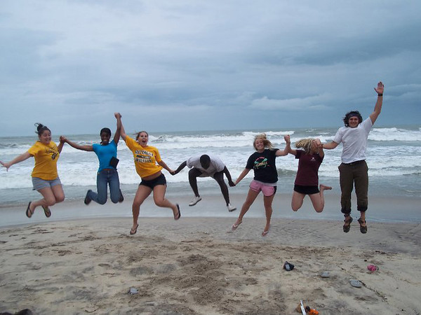 ORIGINAL - Amizade participants on the beach in Accra, Ghana: 5 WVU students (females), one male student from Pitt (right), and leader, Kwame (center). Photo submitted by Kristy Madron (3rd from left)