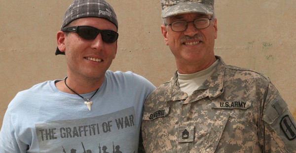 BUCKET - WVU student veteran Jaeson Parsons and SFC Oliverio, member of WV National Guard, in Iraq