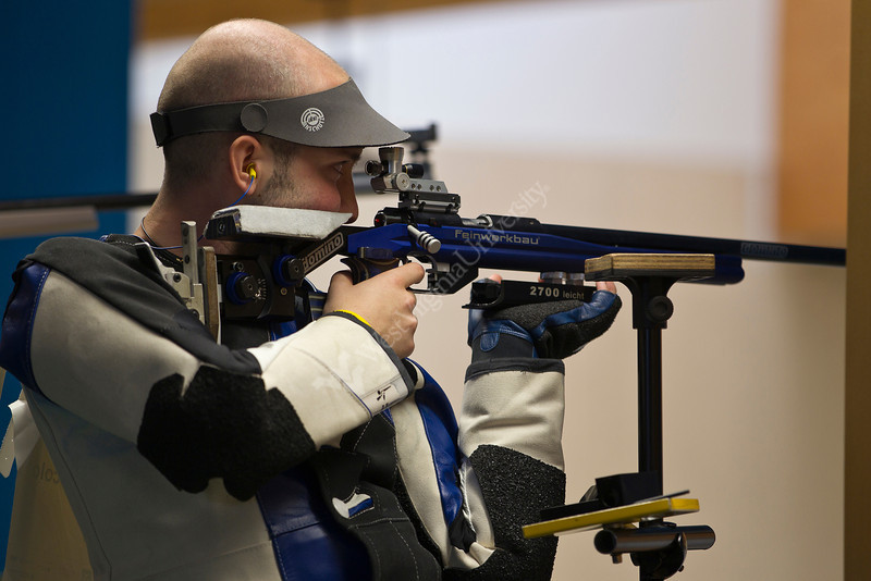 MUNICH - AUGUST 04: 5th placed Niccolo CAMPRIANI of Italy competes in the 50m Rifle 3 Positions Men Final at the Munich Olympic Shooting Range during Day 5 of the 50th ISSF World Shooting Championship on AUGUST 04, 2010 in Munich, Germany. (Photo by Wolfgang Schreiber)