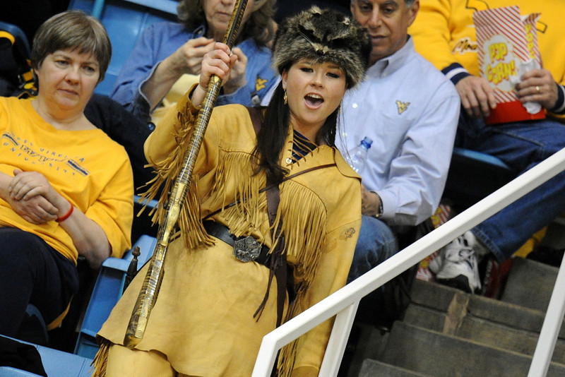 ORIGINAL - 2009-2010 Mountaineer mascot Rebecca Durst at cheer-off during Mountaineer selection process.