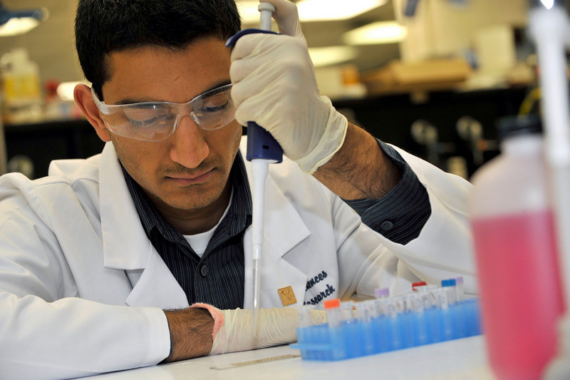 26474A0056 - ORIGINAL - McNair Scholar Anand Sunny Narayanan in the lab