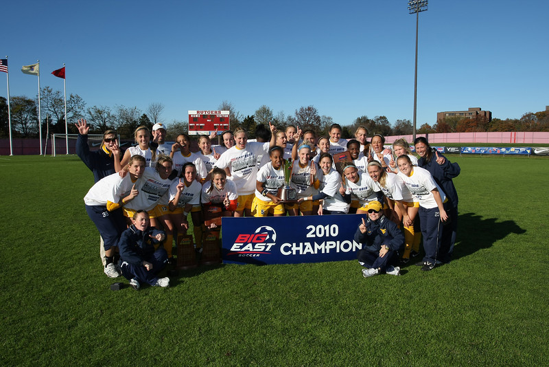 ORIGINAL - 2010 - With a 1-0 victory over South Florida, the Mountaineer women's soccer team won its second conference championship in program history. Women's soccer is the first WVU program to win multiple BIG EAST tournament titles. Photo provided by Athletics.