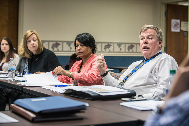 Dr. Ranjita Misra of the School of Public Health meets with the Mon County Health Department to discuss training for their accredidation process in their building  November 21s, 2017.  Photo Brian Persinger