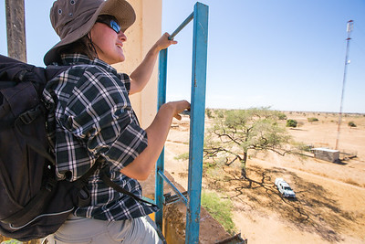 Almut Schlaich climbs a water tower to setup a base station that can communicate with relay antennas strategically placed in the field. The base station takes care of two-way communication with GPS-loggers in the system's range, and transmits data to a cloud database over the cellular network. This allows for the collection of information on birds' movements at very short intervals, which the GPS-backpacks' internal memory cannot store for more than a few days.