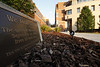 WVU's 9-11 memorial sits in front of the Wise Downtown Library on 9-10-2009. Photo by Scott Lituchy / WVU