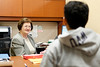 A student receives advice in the WVU Office of Student Employment.  on 11-20-2009.  Photo by Scott Lituchy / WVU