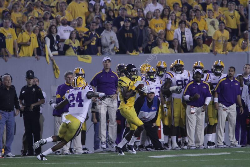 WVU battles LSU in NCAA football at Milan Puskar Stadium on 9/24/2011. LSU won 47-21. Photo by Scott Lituchy