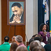 Meshea Poore speaks at MLK Breakfast on Jan. 21, 2019. Photo by Kallie Nealis.