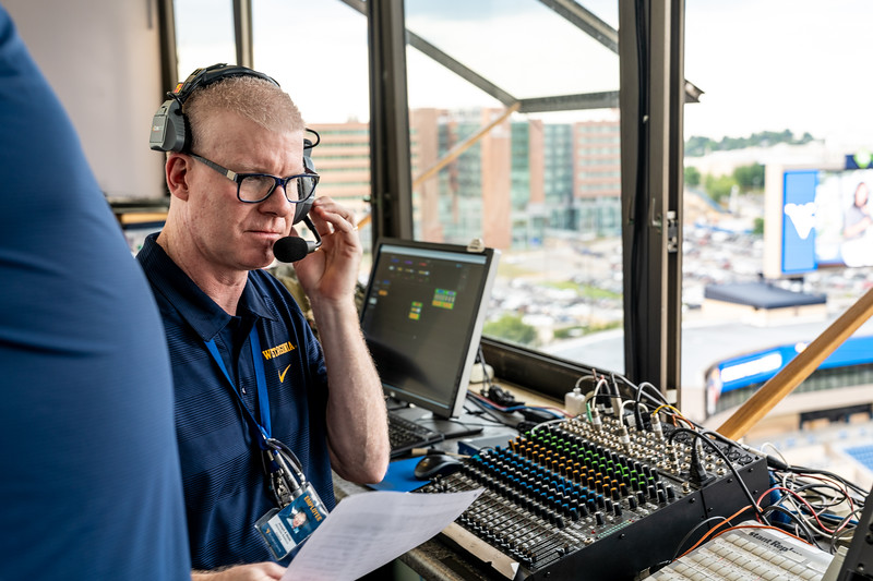 Joe Webb working behind the scenes at Monday Night Lights on Aug. 19, 2019. Photo by Kallie Nealis.