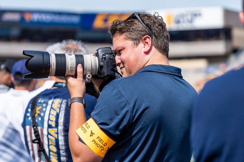 Andrew Sealy takes action shots of the crowd during the matchup against James Madison on Aug. 31, 2019. Photo by Kallie Nealis.