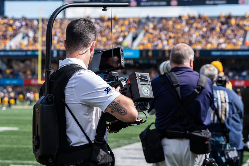 Austin Gaines gathers gameday footage during the matchup against James Madison on Aug. 31, 2019. Photo by Kallie Nealis.