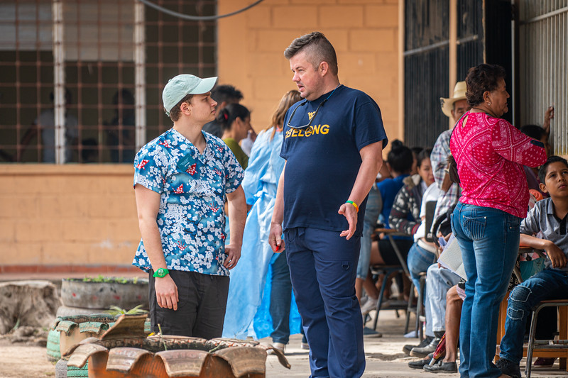 Undergraduate and graduate students of Global Medical and Dental Brigades administer health clinics in Hondruas to children and adults, assisting with medical and dental care with the help of doctors in March 2019. Photo by Kallie Nealis.