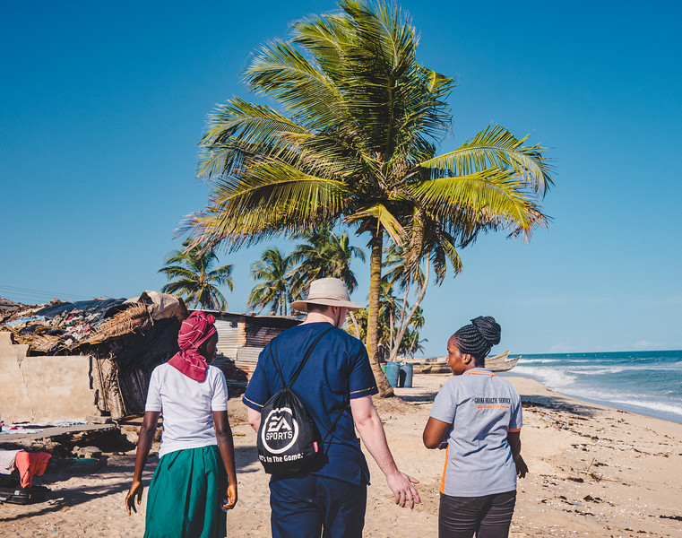 Undergraduate and graduate students of Global Medical and Dental Brigades went into the small village near their medical clinic to visit the school and better understand the community they were working with in May 2019. Photo by Kallie Nealis.