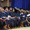 Students look toward the stage during Commencement, May 10, 2019. Photo: Geoff Coyle