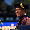 Javier Reyes, Vice President for Start-Up West Virginia and the John Chambers College of Business and Economics Dean, smiles during graduation on May 11, 2019. (Photo Chris Young)
