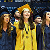 Students sing Country Roads at the conclusion of Commencement, May 10, 2019. Photo: Geoff Coyle