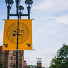 The Downtown Campus decorated for commencement activities on May 2, 2019. Photo by Kallie Nealis.